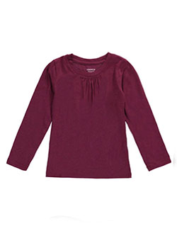 "French Toast Little Girls' ""Ruched Crewneck"" L/S T-Shirt (Sizes 4 – 6X) - CookiesKids.com"