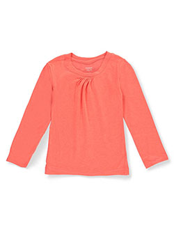 "French Toast Little Girls' Ruched Crewneck"" L/S T-shirt (Sizes 4 – 6X) - CookiesKids.com"