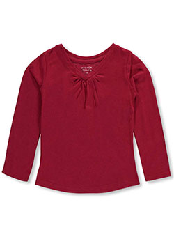 "French Toast Little Girls' ""Ruched V-Neck"" L/S T-Shirt (Sizes 4 – 6X) - CookiesKids.com"