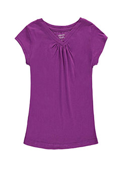 French Toast Big Girls' Ruched V-Neck T-Shirt (Sizes 7 – 16) - CookiesKids.com