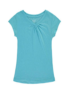 "French Toast Big Girls' ""Ruched V-Neck"" T-Shirt (Sizes 7 – 16) - CookiesKids.com"