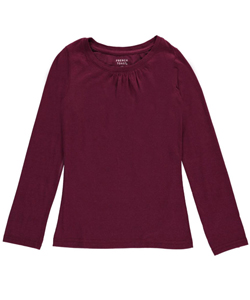 "French Toast Big Girls' ""Ruched Crewneck"" L/S T-Shirt (Sizes 7 – 16) - CookiesKids.com"