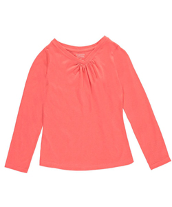 "French Toast Big Girls' ""Ruched V-Neck"" L/S T-Shirt (Sizes 7 – 16) - CookiesKids.com"