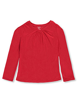 French Toast Big Girls' Ruched V-Neck L/S T-Shirt (Sizes 7 – 16) - CookiesKids.com