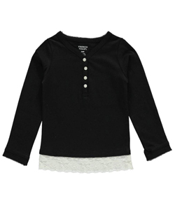 "French Toast Baby Girls' ""Bit of Lace"" Henley Top - CookiesKids.com"