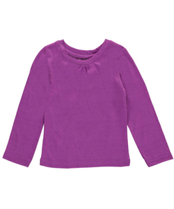 "French Toast Baby Girls' ""Ruched Crewneck"" L/S T-Shirt - CookiesKids.com"