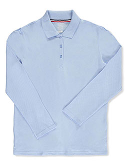French Toast Big Girls' Plus L/S Stretch Pique Polo Shirt (Sizes 10.5 – 20.5) - CookiesKids.com
