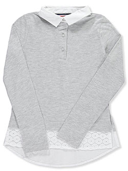 "French Toast Big Girls' ""Eyelet Shirttail"" L/S Top (Sizes 7 – 16) - CookiesKids.com"