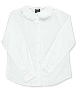 French Toast Big Girls' Plus Size L/S Blouse with Lace Edging (Size 14.5) - CookiesKids.com