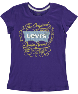 "Levi's Big Girls' ""Gilded Logo Tab"" T-Shirt (Sizes 7 – 16) - CookiesKids.com"