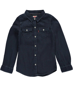 "Levi's Little Girls' Toddler ""Evening Western"" Button-Down (Sizes 2T – 4T) - CookiesKids.com"