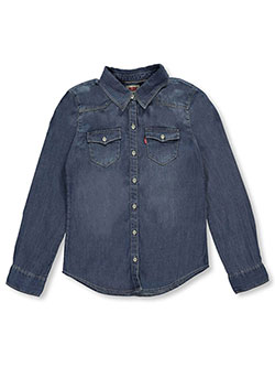 "Levi's Little Girls' ""Western Chambray"" Button-Down (Sizes 4 – 6X) - CookiesKids.com"