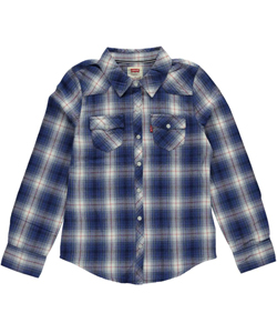 "Levi's Big Girls' ""Western Plaid"" Button-Down (Sizes 7 – 16) - CookiesKids.com"