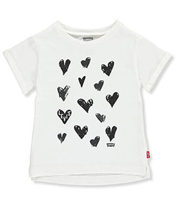 "Levi's Little Girls' Toddler ""Sketched Hearts"" T-Shirt (Sizes 2T – 4T) - CookiesKids.com"