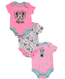"Minnie Mouse Baby Girls' ""Glitter Candy"" 3-Pack Bodysuits - CookiesKids.com"