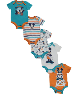 "Mickey Mouse Baby Boys' ""My Beach, My Rules"" 5-Pack Bodysuits - CookiesKids.com"