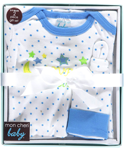 "Mon Cheri Baby Baby Boys' ""To the Moon"" Nightgown & Cap Gift Set - CookiesKids.com"
