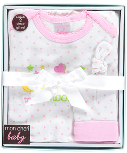 "Mon Cheri Baby Baby Girls' ""To the Moon"" Nightgown & Cap Gift Set - CookiesKids.com"