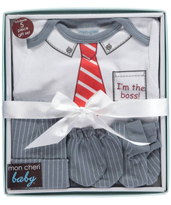 "Mon Cheri Baby Baby Boys' ""I'm the Boss"" 5-Piece Layette Gift Set - CookiesKids.com"