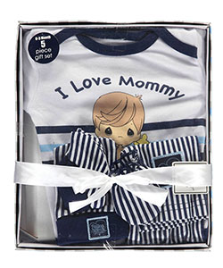 "Precious Moments Baby Boys' ""I Love Mommy"" 5-Piece Layette Gift Set - CookiesKids.com"