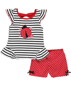 "Nannette Little Girls' Toddler ""Ladybug Bold"" 2-Piece Outfit (Sizes 2T – 4T) - CookiesKids.com"