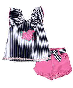 "Nannette Little Girls' Toddler ""Strawberry Striper"" 2-Piece Outfit (Sizes 2T – 4T) - CookiesKids.com"