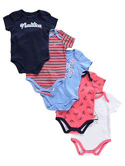 "Nautica Baby Girls' ""Sailing Wind"" 5-Pack Bodysuits - CookiesKids.com"