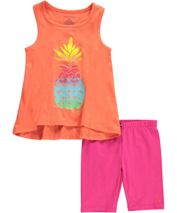 "Nautica Little Girls' Toddler ""Sunshine Pineapple"" 2-Piece Outfit (Sizes 2T – 4T) - CookiesKids.com"
