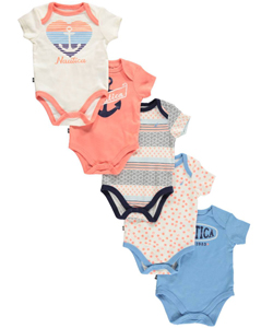 "Nautica Baby Girls' ""Sunset Horizon"" 5-Pack Bodysuits - CookiesKids.com"