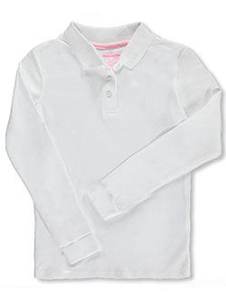 "Nautica Big Girls' ""Knit Picot"" L/S School Uniform Polo (Sizes 7 – 16) - CookiesKids.com"