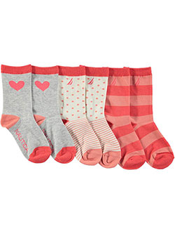 "Nautica Girls' ""Dot & Stripe"" 3-Pack Crew Socks (Sizes 6 – 11) - CookiesKids.com"