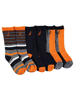"Nautica Boys' ""Prep Contrast"" 3-Pack Crew Socks (Sizes 5 – 11) - CookiesKids.com"