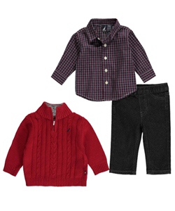 "Nautica Baby Boys' ""Cable Cross"" 3-Piece Outfit - CookiesKids.com"