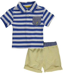 "Nautica Baby Boys' ""Chambray Pocket on Stripes"" 2-Piece Outfit - CookiesKids.com"