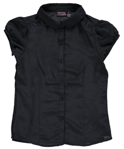 "Nautica Big Girls' ""Princess Seamed"" Button-Down Shirt (Sizes 7 – 16) - CookiesKids.com"