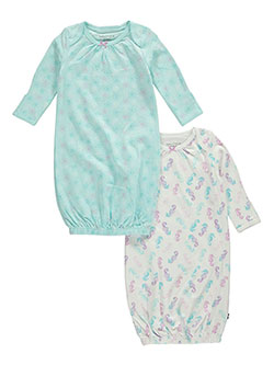 "Nautica Baby Girls' ""Watercolor Seahorse"" 2-Pack Gowns - CookiesKids.com"
