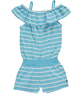 "Nautica Little Girls' Toddler ""Striped Cold Shoulder"" Romper (Sizes 2T – 4T) - CookiesKids.com"