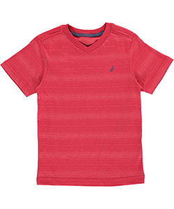 "Nautica Little Boys' ""Faint Horizon Stripe"" V-Neck T-Shirt (Sizes 4 – 7) - CookiesKids.com"
