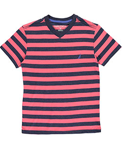 "Nautica Big Boys' ""Sailor Stripe"" V-Neck T-Shirt (Sizes 8 – 20) - CookiesKids.com"