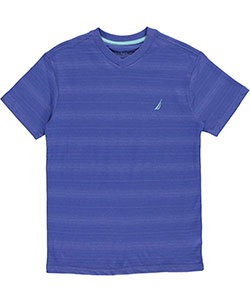 "Nautica Big Boys' ""Faint Horizon Stripe"" V-Neck T-Shirt (Sizes 8 – 20) - CookiesKids.com"