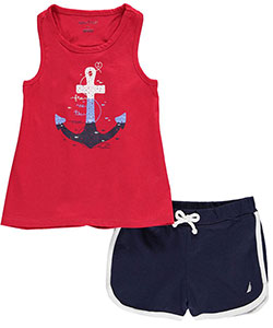 "Nautica Little Girls' Toddler ""Free as the Ocean"" 2-Piece Outfit (Sizes 2T – 4T) - CookiesKids.com"