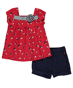 "Nautica Little Girls' ""Sea Swell"" 2-Piece Outfit (Sizes 4 – 6X) - CookiesKids.com"