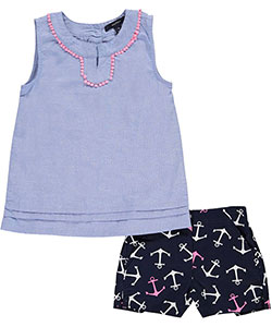 "Nautica Little Girls' ""Lake Shore"" 2-Piece Outfit (Sizes 4 – 6X) - CookiesKids.com"