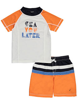 "Nautica Little Boys' Toddler ""Sea You Later"" 2-Piece Swim Set (Sizes 2T – 4T) - CookiesKids.com"