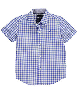 "Nautica Little Boys' ""Stretch Gingham"" S/S Button-Down (Sizes 4 – 7) - CookiesKids.com"
