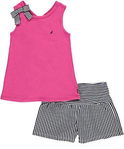 "Nautica Little Girls' ""Bowed Voyage"" 2-Piece Outfit (Sizes 4 – 6X) - CookiesKids.com"