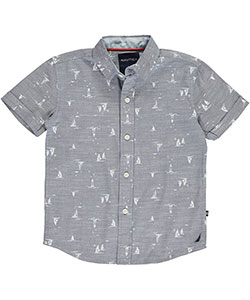 "Nautica Little Boys' ""Chambray Lighthouse"" Short-Sleeved Button-Down (Sizes 4 – 7) - CookiesKids.com"