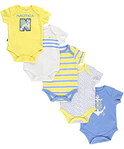 "Nautica Baby Boys' ""Striped Sails"" 5-Pack Bodysuits - CookiesKids.com"