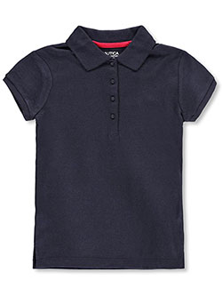 Nautica Big Girls' S/S Interlock Polo with Picot Collar (Sizes 7 – 16) - CookiesKids.com