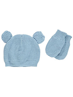 "Nolan Baby Boys' ""Cotton Knit & Ears"" Beanie & Mittens Set - CookiesKids.com"